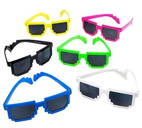 AfterthoughtRI 652043905370 Sunglasses Pixel Style Party Theme,Grab Bag Item,Summer time Fun 6pc, Unicorncake-310 -