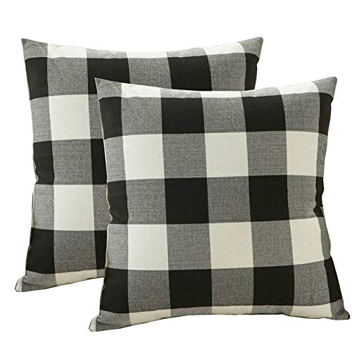 (TongXi Black White Classic Retro Checkers Plaids Style Cotton Linen Square Decorative Throw Pillow Covers 18 x 18 Inches 45 x 45 cm Pack of 2)