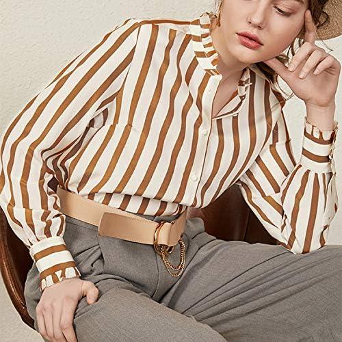 QYQCX Ladies Orange Striped Silk Long Sleeve Shirt
