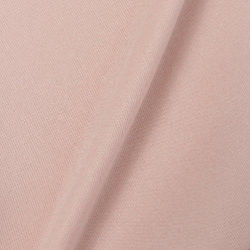 WanYang Mujeres Ronda de Manga Larga Blusa de Cuello Sudaderas Camiseta Tapas Rosado