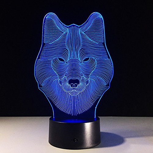 Wolf Night Lights for Kids,3D Night Lamp, Children Toys for Boys, 7 LED Colors Changing Lighting, Touch USB Charge Table Desk Bedroom Decoration, Cool Gifts Ideas Birthday Xmas for Baby Girl Friends - Nice 3 Light