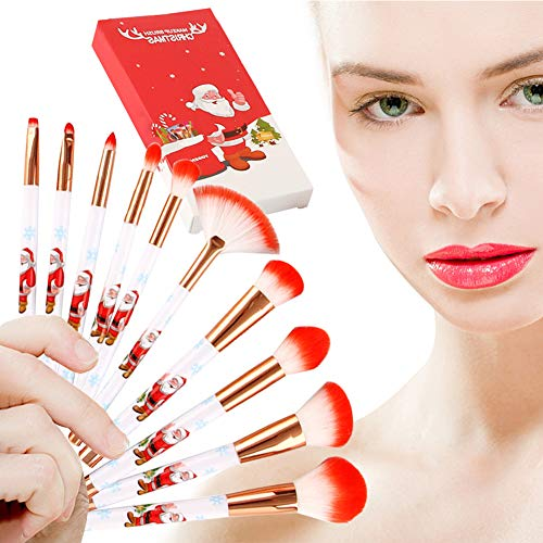 Christmas Makeup Brush Set, 10Pcs Premium Synthetic Kabuki Professional Foundation Blending Blush Eyeshadow Face Powder Cosmetic Brush Kit, Red ()