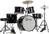 Gammon 5-Piece Junior Starter Drum Kit with Cymbals, Hardware, Sticks, & Throne - Black (Renewed)