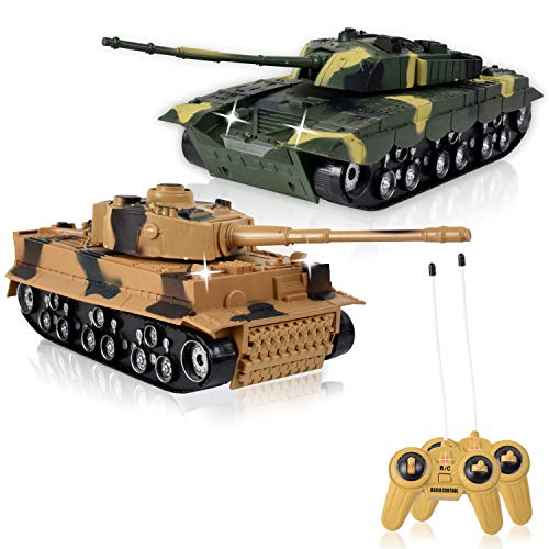 WolVol (SET OF 2) Remote Control Military Combat Fighter Tank Toys with Head Lights and Army Sounds for Kids (Option to turn off sounds while in action)