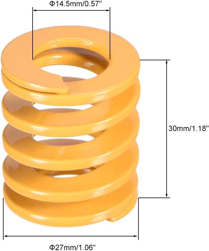 sourcing map 30 mm od 70 mm de largo estampado en espiral molde de compresi/ón de carga ligera muere resorte amarillo