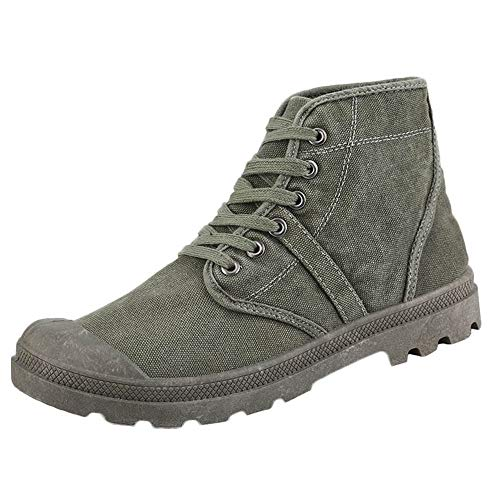 (iHPH7 Shoes Mid Waterproof Ankle Boot Fashion High Top Ankle Boots Comfortable Thick Bottom Casual Canvas Shoes Men (40,Army Green))