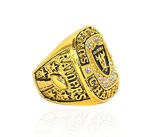 OAKLAND RAIDERS (3X Champs) 1976, 1980, 1983 SUPER BOWL WORLD CHAMPIONS (Vintage) Rare & Collectible High Quality Replica NFL Football Gold Championship Ring with Cherrywood Display Box