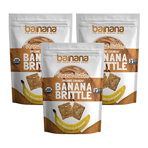 Barnana Organic Crunchy Banana Brittle - Peanut Butter, 3.5 Ounce (3 Count) - Healthy Vegan Cookie Style Dessert Snack - Made with Sustainable, Eco Friendly Upcycled Bananas ()