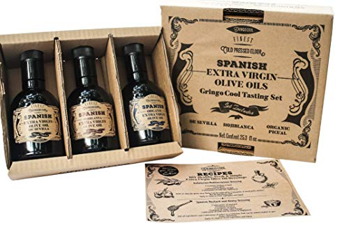 Spanish Tasting Set of Extra Virgin Olive Oils - 3 Bottle Variety Box (25.35 fl oz) from GringoCool