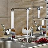 ROVATE Kitchen Sink Faucet Brass Single Handle Single Hole Hot/Cold Mixer Kitchen Basin Faucet, Chrome