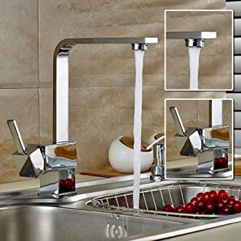 ROVATE Kitchen Sink Faucet Brass Single Handle Single Hole Hot/Cold Mix  Kitchen Basin Faucet