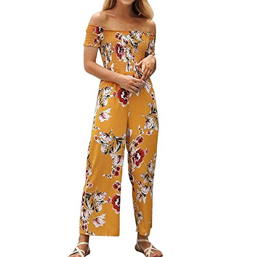 (Corriee Rompers for Teen Girls Cute Cold Shoulder Strapless Floral Print High Waist Jumpsuits Summer Long Playsuits)