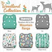Thirsties Package, Snap Newborn All In One, Woodland Collection Mountain