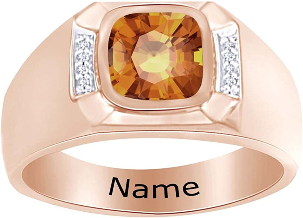 Wishrocks Simulated Birthstone Personalised Engravable Mens Band Ring 14K Rose Gold Over Sterling Silver