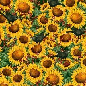 Fat Quarter Time to Harvest Sunflower and Blackbirds Cotton ... : quilting fabric uk - Adamdwight.com