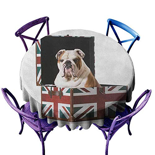 ONECUTE Round Tablecloth,English Bulldog Cute Bulldog Sitting in Union Jack Britain Themed Box Patriotic Design,Table Cover for Kitchen Dinning Tabletop Decoratio,47 INCH Multicolor ()