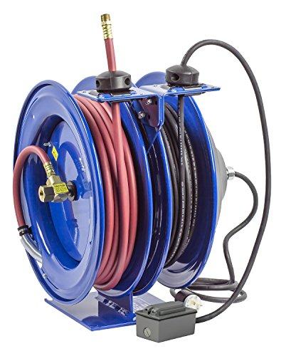 Coxreels C L350 5016 F Dual Purpose Electric Air Spring Rewind Reels  50 3 8  I D  Hose  300 Psi  G F C I  Receptacle  50 Cord  16 Awg
