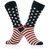 Patirotic Flag Socks,SUTTOS Men's Groom Wedding Suits Dress Socks 2 Pairs 4th of July Patriotic American Flag Striped Stars Party Fun Socks Colorful Patterned Dress Socks Casual Patterned Crew Dress Socks Back to School Gift
