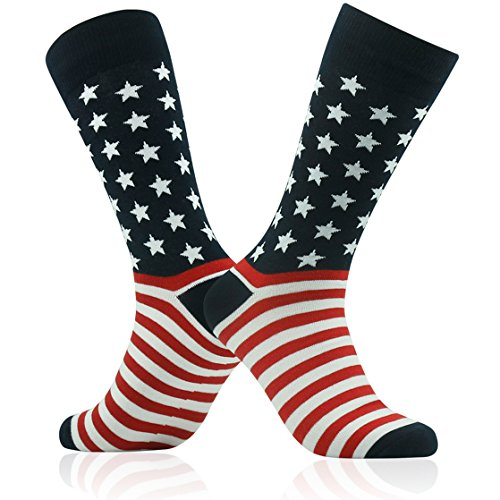 SUTTOS Men's Groom Wedding Business Suits Dress Socks 2 Pairs Crazy Fun 4th of July Patriotic American Flag Striped Stars Party Fun Socks Christmas Socks Gifts Casual Fashion Patterned Crew Dress Socks Valentine's Day Gift