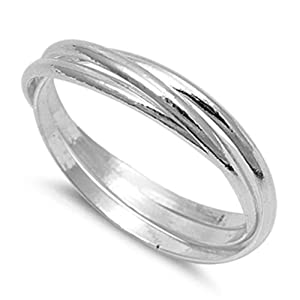 Men's Women's Triple Thin Band Ring New Solid .925 Sterling Silver Size 11 (RNG14843-11)