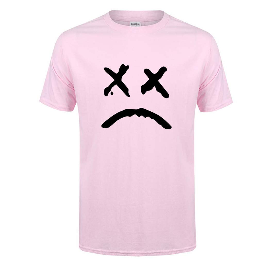 Allywit-Mens Spring Summer Casual Fashion Cute Printing O-Neck Short Sleeve Cotton T-Shirt Pink by Allywit-Mens (Image #1)