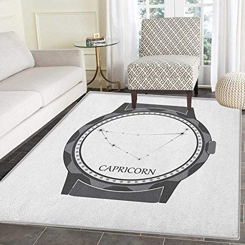a Rug Carpet Greyscale Watch Dial Design with Horoscope Constellation Motif Customize Door mats for Home Mat 2'x3' Grey Charcoal Grey ()