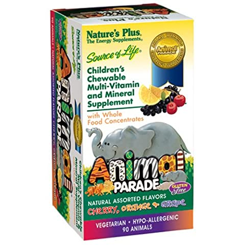 Natures Plus Animal Parade Children's Chewable Multi - Assorted Flavors - 90 Chewable Tablets - 90 Chewable Tabs