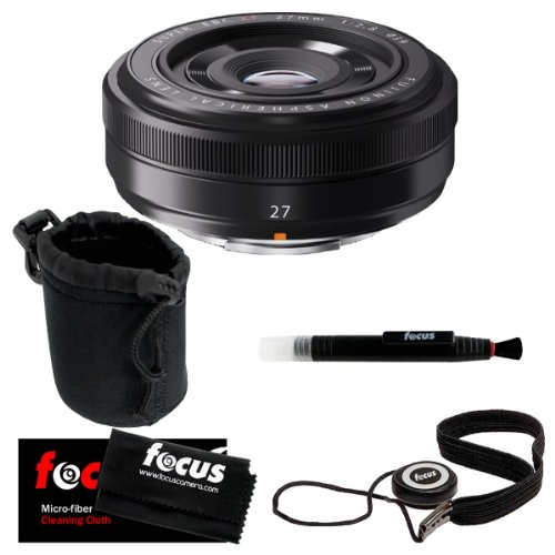 Price comparison product image Fujifilm XF 27mm F2.8 Compact Prime Lens + Small Neoprene DSLR Camera Lens Pouch + Kit