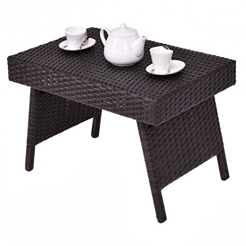 Rattan Walnut Table (Mix Brown PE rattan Side End Accent Coffee Table With Ebook)