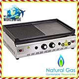 28 '' ( 70 cm ) NATURAL GAS Commercial Kitchen Equipment GROOVED AND FLAT CAST IRON SURFACE Countertop Flat and Grooved Top Grill Restaurant Cooktop Manual Griddle