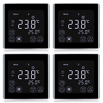 FLOUREON Termostato de Ambiente Digital Ajustable Termostato Inalámbrico Programable con Pantalla LCD para Calefacción Eléctrica (
