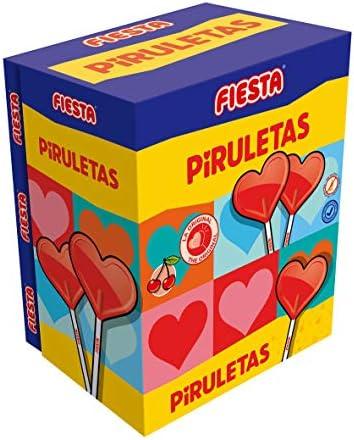 FIESTA Piruletas Caramelo con Palo en Forma de Corazón Sabor Cereza - Caja de 80 unidades: Amazon.es: Alimentación y bebidas