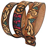 Embossed Love & Peace Sign Brown (multi-color)- Genuine Tooled Leather Interchangeable Belt Strap. STRAP ONLY! Brown 32 inches
