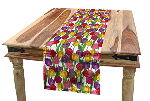 (Lunarable Tulip Table Runner, Group of Mixed Complex Repeating Tulip in Diverse Colors Seasonal Nature Garden Image, Dining Room Kitchen Rectangular Runner, 16