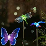 Patio Lawn Garden Best Deals - SZMINILED Color Changing Solar Powered LED Garden Stake Lights - Hummingbird & Butterfly & Dragonfly Kit For Outside Garden Patio Yard Lawn Lighting