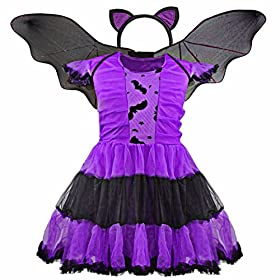 - 51y 2B7PZWqTL - FEESHOW Kids Girls Bat Wings Halloween Costume Cosplay Outfit with Cat Ear Headband Set