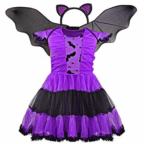 FEESHOW Kids Girls Bat Wings Halloween Costume Cosplay Outfit with Cat Ear Headband Set Purple 7-8 (Purple Batgirl Costume)