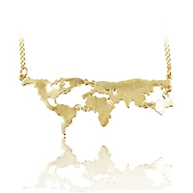 Grenf fashion gold plated long chain world map necklace world grenf fashion gold plated long chain world map necklace world continents clavicle charm pendant gumiabroncs Image collections