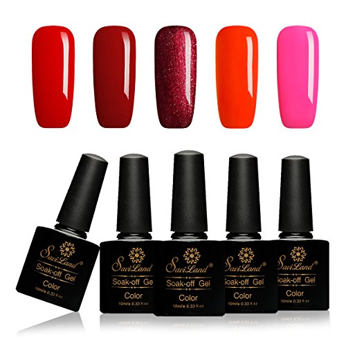 Saviland 10ml Soak Off Gel Nail Polish Red Pink Sets UV LED