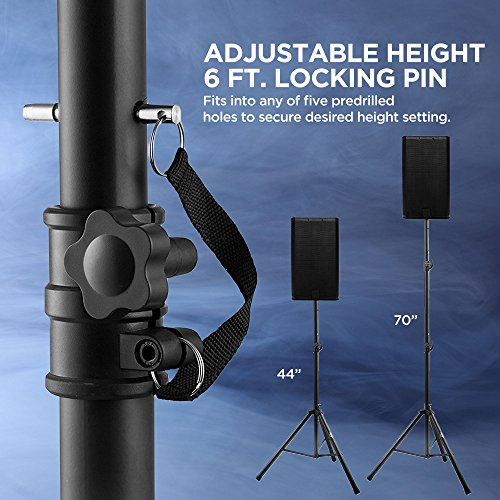 Pa Speaker Stands Pair Pro Adjustable Height with 50 Cable Ties Kit To Secure Cable to stand (2 Stands) 6ft Tripod Speaker stands by Starument - Image 4