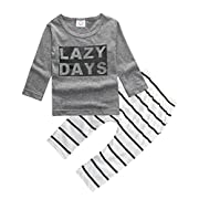 ZHUANNIAN Baby Boys Clothes 2PCS Outfit Set Long Sleeve Tops with Stripped Pants(Grey and Cream,2-3T)