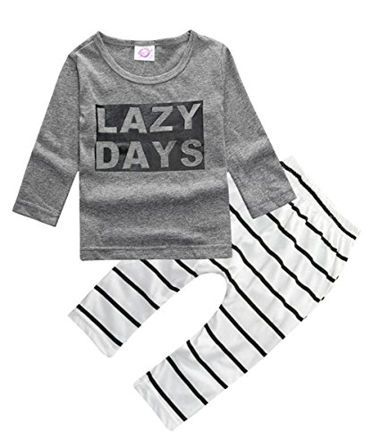 - ZHUANNIAN Baby Boys Clothes 2PCS Outfit Set Long Sleeve Tops with Stripped Pants(Grey and Cream,6-12 Months)