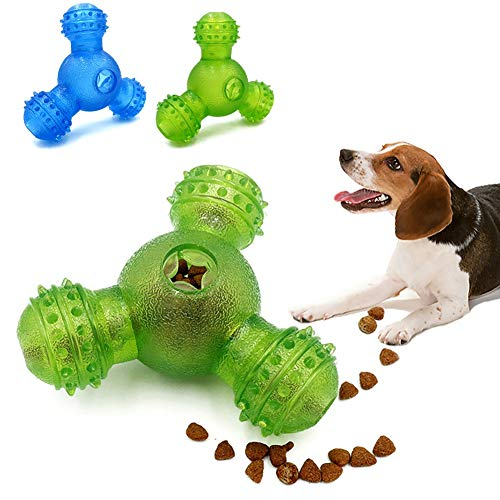 Dog Chew Toys for Aggressive Chewers – Interactive Dog Toys, IQ Treat Dog Chew Toys 3 Holes Food Dispensing Tough Tooth…