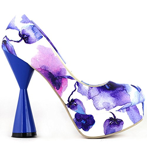 Party LF40812 Cone Glamorous Blue Show Heel PeepToe Story Print Platform Floral Pump 0STWwZRq