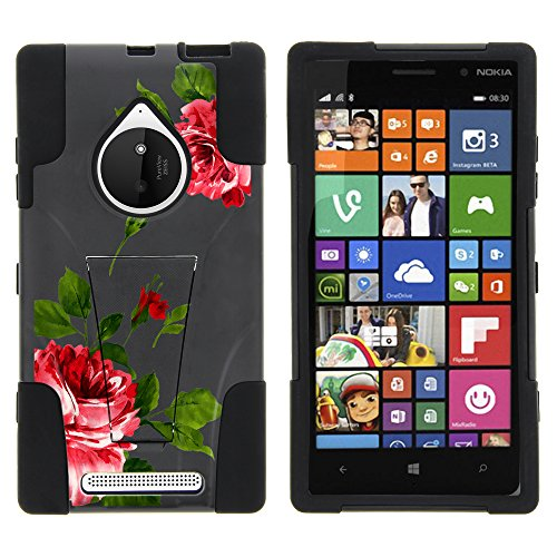 Nokia Lumia 830 Case, Dual Layer Shell STRIKE Impact Kickstand Case with Unique Graphic Images for Nokia Lumia 830 (AT&T, T Mobile, Verizon) from MINITURTLE | Includes Clear Screen Protector and Stylus Pen - Affectionate Flowers