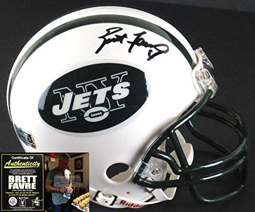 Brett Favre Helmet (Brett Favre Autographed/Signed New York Jets Riddell NFL Mini Helmet)