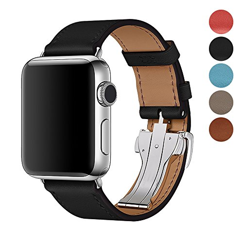 For Apple Watch Band 42MM/38,Calfskin Leather Strap Replacement Band with Metal Butterfly Buckle for Apple Watch Series 3/2/1 (Black, 42mm)