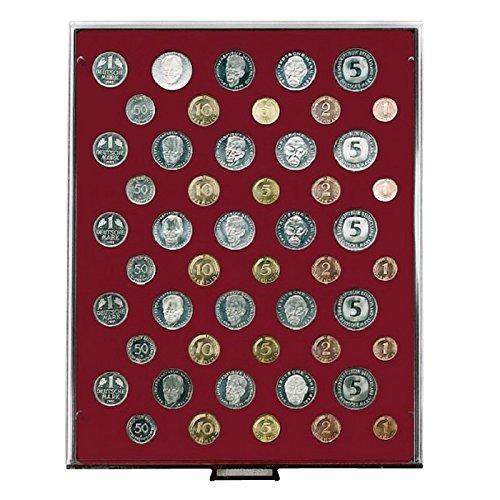 z.B Lindner 2607 f/ür 5 DM KMS - Ausf/ührung: Rauchglas M/ünzenbox mit 50 Vertiefungen f/ür 5 DM-Kursm/ünzens/ätze mit je 10 M/ünzen
