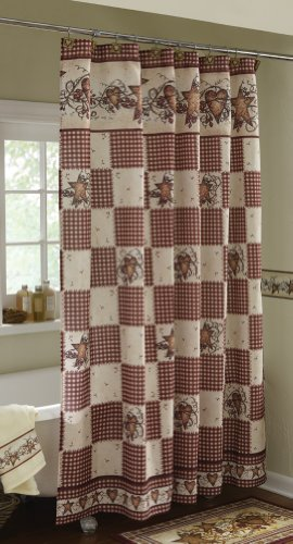 Amazon.com: Primitive Hearts And Stars Country Shower Curtain ...