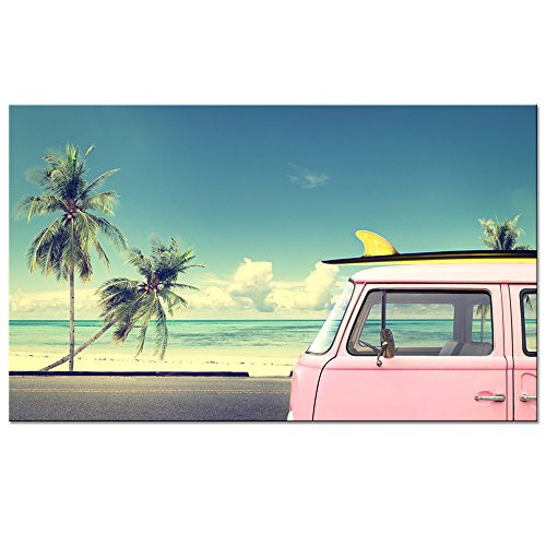 Palm Tree Photo - sechars - Tropical Beach Wall Art Pink Van Car with Surfboard Picture Photo Print on Canvas Palm Tree Landscape Painting Framed for Home Decor Ready to Hang,-24x40incehs